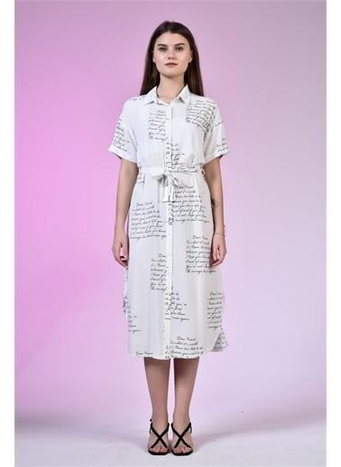 Rodi Jeans Kadın Gömlek Yaka Love Baskılı Elbise DS21YB112196 Beyaz